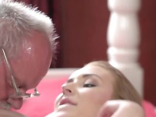 Very Old Man Gets Access To Tender Slit Of Youthful Blonde Angelface