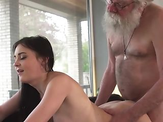 Lady Gets Bored And Determines To Give The Old Dude The Chance Of A Lifetime And Fuck Him