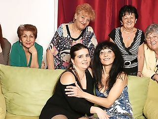 Old And Youthful Lesbos Perform In A Room Total Of Matures Ladies