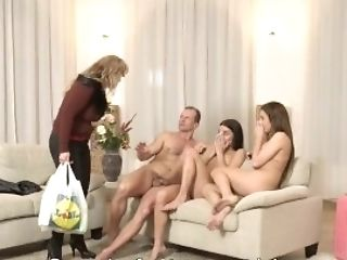 Daddy4k. Mom's Two Daughters-in-law Getting Insane In Her Property