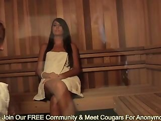 Skinny Black-haired Cassandra Nix And Sheena Shaw Wank In Sauna