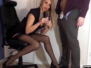 Sexy Blonde Mummy Mega-bitch In Black Underwear Eating Jizz