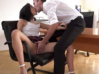 Youthful Chick In Brief Kilt Miniskirt Anainda Gets Her Gullet Fucked On The Table
