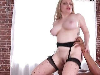 Blonde Aiden Starr With Giant Melons Is Close To Orgasm After A Few Minutes Of Interracial Fucking With Her Lovemaking Accomplice