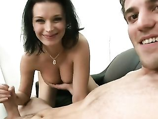 Black-haired Bailey Brooks Has A Good Time Playing With Guys Spunk Loaded Spear